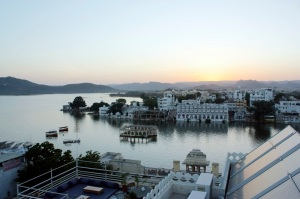 Sunset from the roof of my hotel in Udaipur