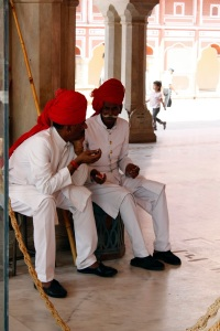 The staff relax at the City Palace in Jaipur