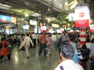 the Victoria Terminus at rush hour